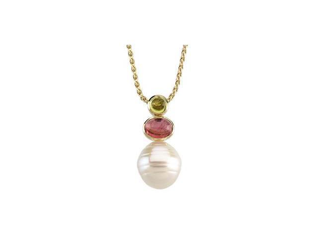 CleverSilver's 14K White Gold South Sea Cultured Pearl, Genuine Peridot And Genuine Pink Tourmaline Pendant 12.00Mm