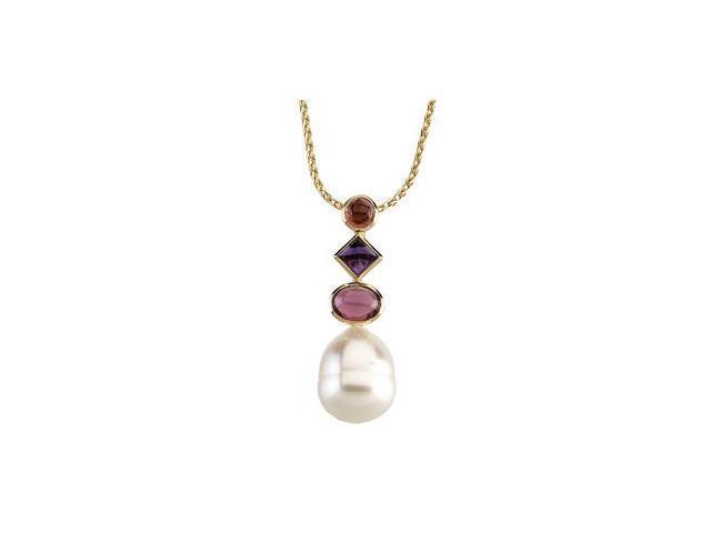 CleverSilver's 14K White Gold South Sea Cultured Pearl, Genuine Pink Tourmaline, Genuine Amethyst , And Genuine Rhodium Olite Garnet Pendant 12.00Mm/05.00Mm/05.00Mm/8X6Mm