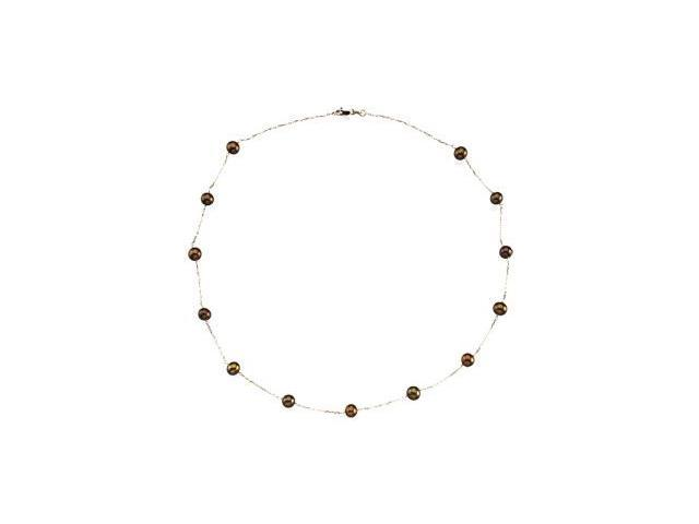 CleverSilver's 14K Yellow Gold Freshwater Cultured Dyed Chocolate Pearl St Ation Necklace 05.50-06.00 Mm/18.00 Inch