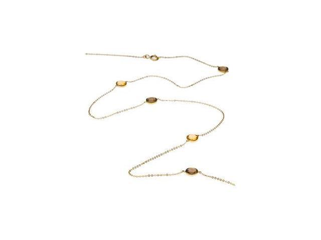 CleverSilver's 14K Yellow Gold 4000 Inch Genuine Checkerboa Round Smoky Quartz & Ctirine Necklace 06.00 Mm