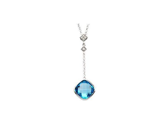 CleverSilver's 14K White Gold Genuine Checkerboa Round Swiss Blue Topaz And Diamond Necklace .04 Ct Tw