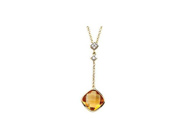 CleverSilver's 14K Yellow Gold 14Ky With Rhodium Ium Genuine Checkerboa Round Citrine And Diamond Necklace .04 Ct Tw