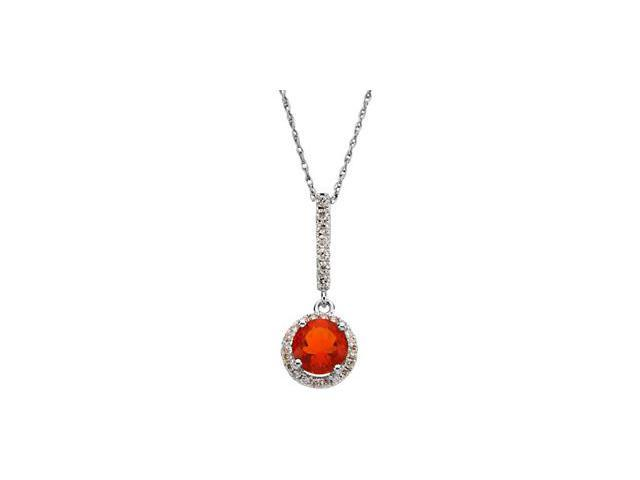CleverSilver's 14K White Gold Genuine Mexican Fire Opal And Diamond Pendant This Item Is Approximate 3.2
