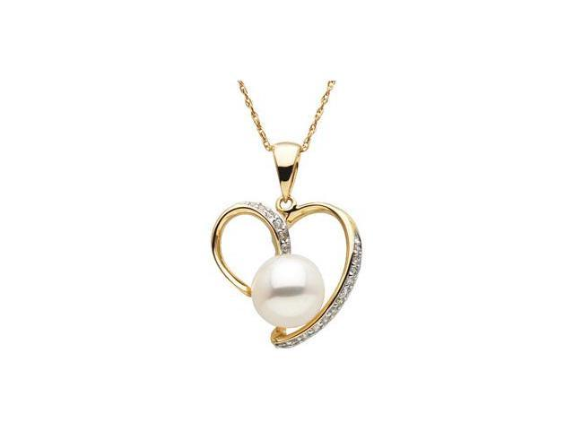 CleverSilver's 14K Yellow Gold Freshwater Cultured Pearl And Diamond Pendant 08.00-08.50 Mm/ 1/8 Ct Tw