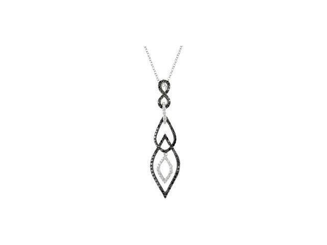 CleverSilver's 14K White Gold 14Kw With Black Rhodium Ium Black And White Diamond Necklace 3/4 Ct Tw