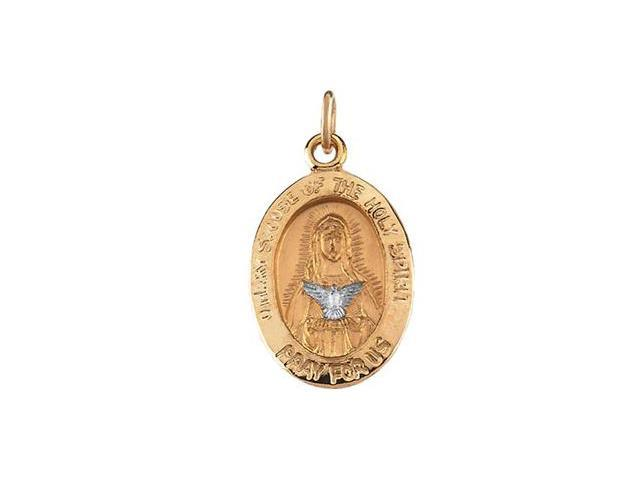 CleverSilver's 14K Yellow Gold With White Gold Two Tone Mary Of Holy Spirit Medal 15.00X11.00 Mm