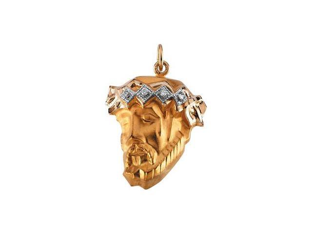 CleverSilver's 14K Yellow Gold Head Of Jesus Crown Pendant W/Diamond  2.1