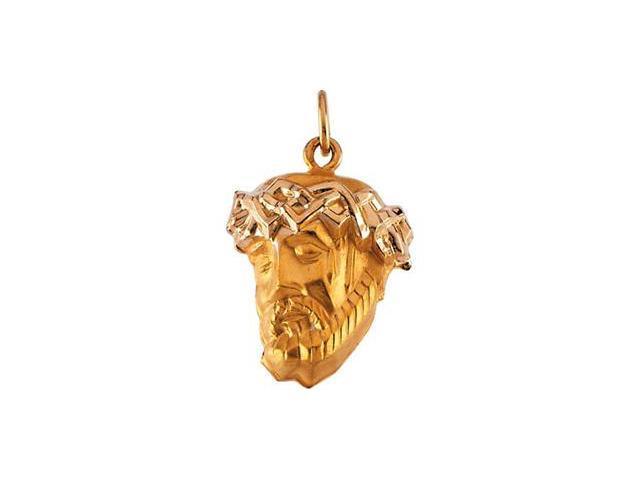 CleverSilver's 14K Yellow Gold Head Of Jesus W/Crown Pendant