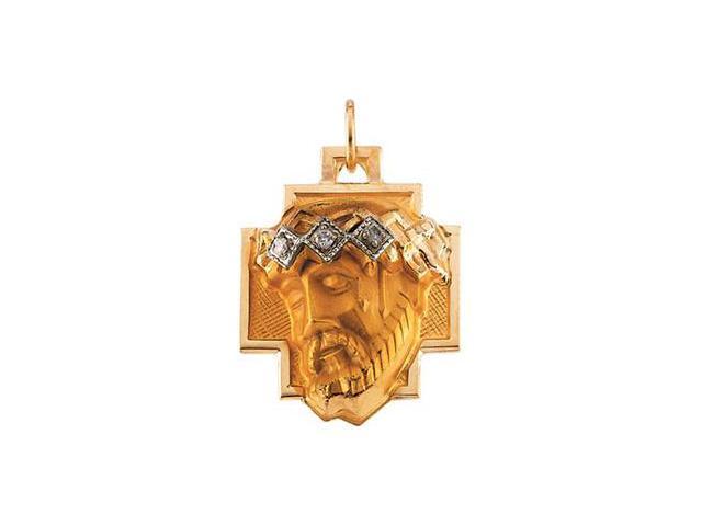 CleverSilver's 14K Yellow Gold Head Of Jesus Crown Cross Pendant W/Diamond  2.5