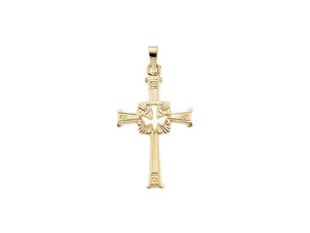 CleverSilver's 14K Yellow Gold Cross W/Holy Spirit Pendant