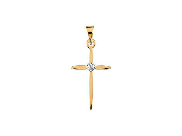 CleverSilver's 14K Yellow Gold Cross Pendant W/Diamond
