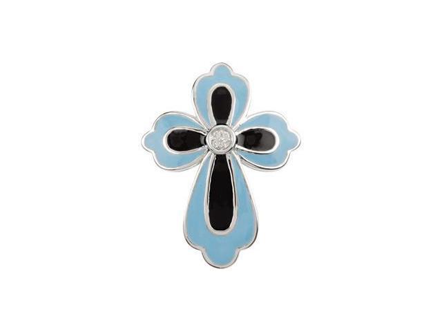 Blue And Black Enamel Diamond Cross