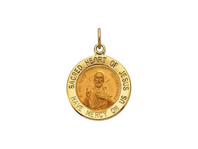 CleverSilver's 14K Yellow Gold Sacred Heart Of Jesus Medal 15.00 Mm