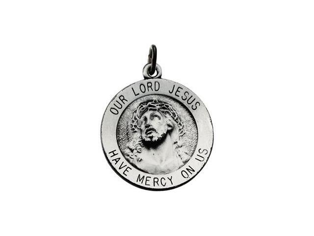 CleverSilver's 14K Yellow Gold Our Lo Round Jesus Medal 18.00 Mm