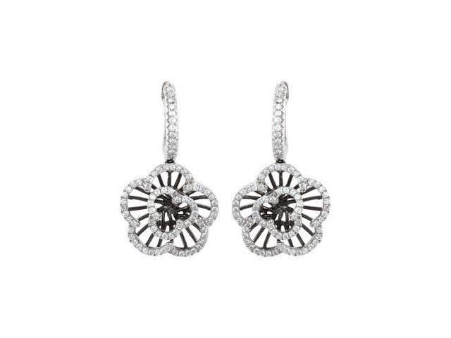 14K White Gold 1/2 Ct Tw Diamond Earrings With Black Rhodium