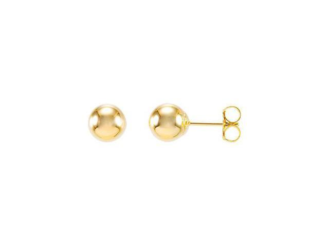 14K Yellow Gold 06.00 mm Ball Earring W/Bright Finish And Backs