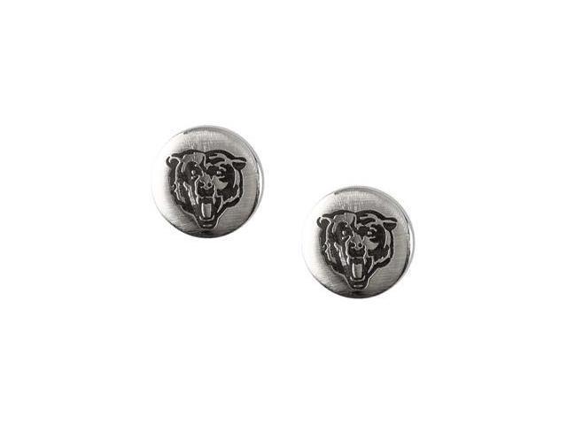 Stainless Steel 10.00mmx10.00mm Chicago Bears Logo Stud Earrings