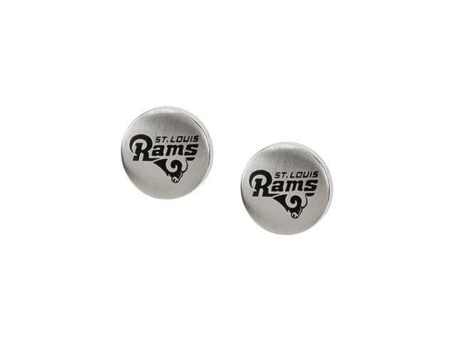 Stainless Steel 10.00mmx10.00mm St. Louis Rams Logo Stud Earrings