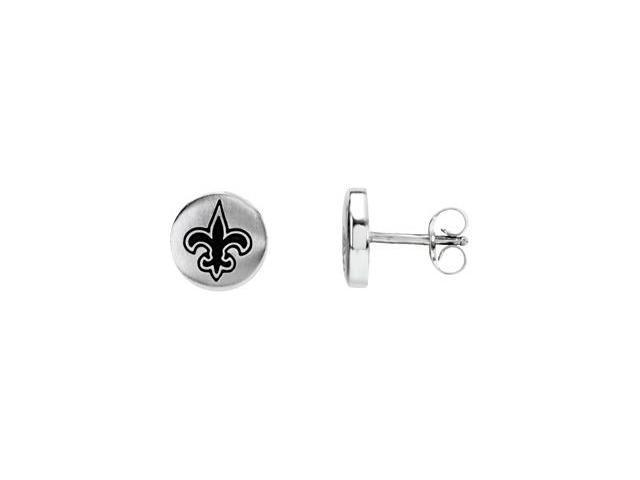 Stainless Steel 10.00mmx10.00mm New Orleans Saints Logo Stud Earrings
