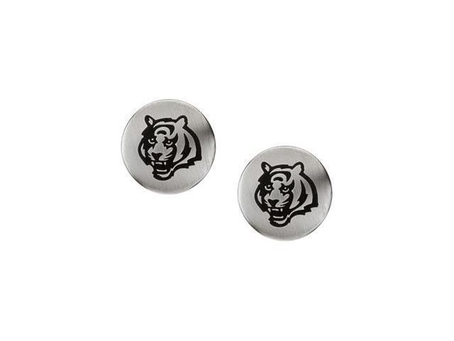 Stainless Steel 10.00mmx10.00mm Cincinnati Bengals Logo Stud Earrings