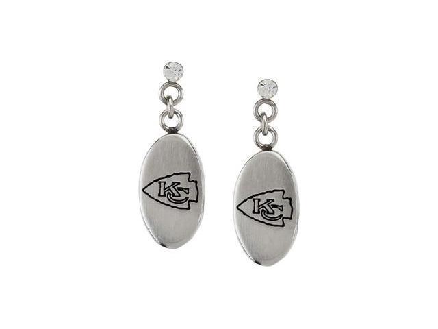 Stainless Steel 27.60mmx10.00mm Kansas City Chiefs Logo Dangle Earrings