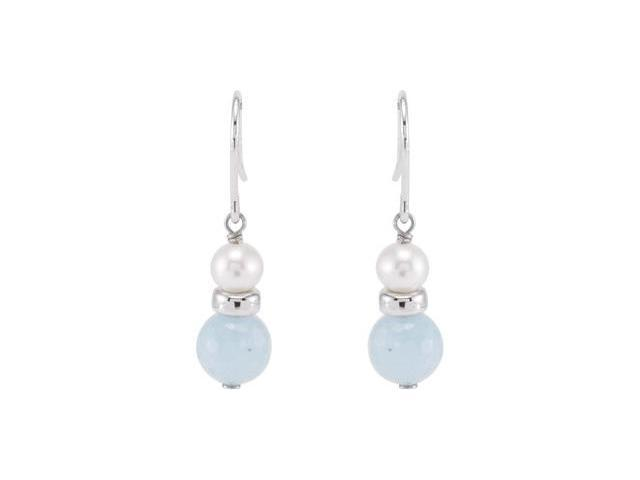 Sterling Silver 5-5.5mm/8mm Freshwater Cultured Pearl And Genuine Aqua Earrings