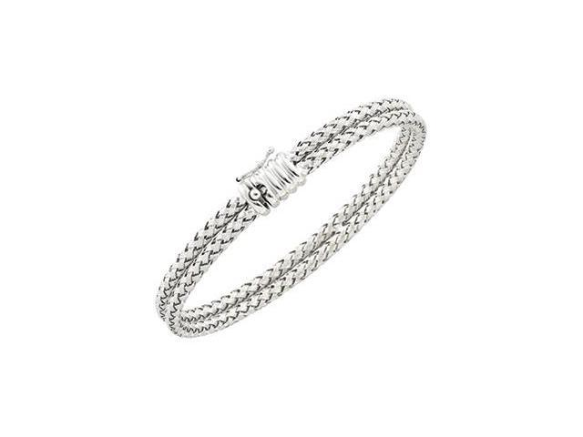 CleverSilver's 14K White Basket Weave Chain 7.25 Inch