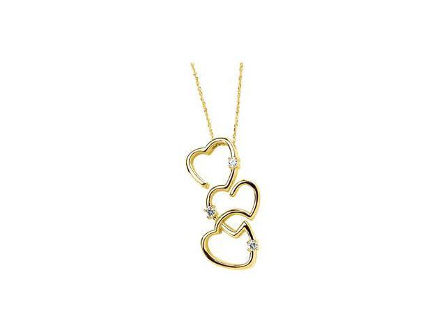 14K Yellow Gold Created Moissanite Heart Pendant On 18 Inch Sparkle Singapore