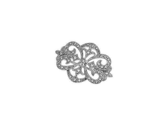 CleverSilver's 14K White Gold Diamond Brooch 1/ 4 Ct Tw