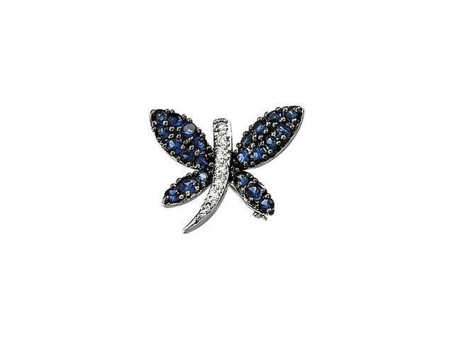 14K White Gold 14K With Black Rhodiumium Plated Genuine Blue Sapphire
