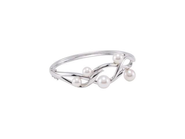 Clevereve's Sterling Silver Freshwater Cultured Pearl Bangle Bracelet