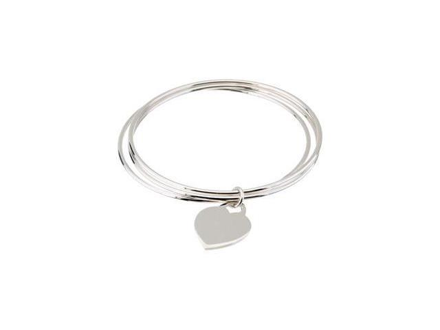 Clevereve's Sterling Silver Triple Bangle Bracelet With A Heart Dangle