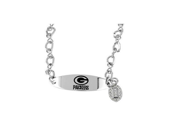 Clevereve's Stainless Steel Green Bay Packers Team Name & Logo Dangle Bracelet