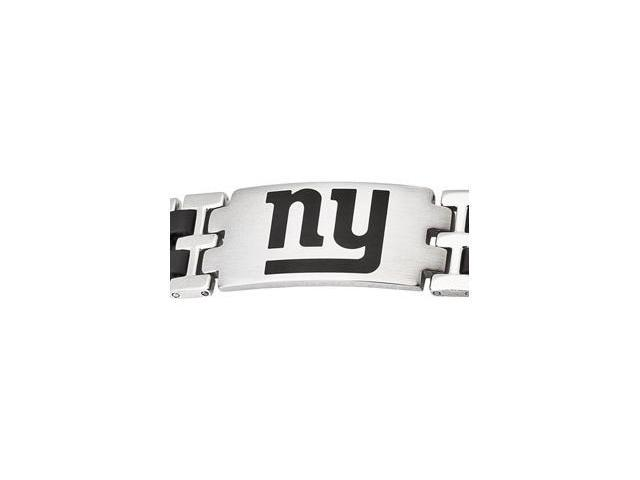 Stainless Steel New York Giants Stainless And Rubber Team Logo Bracelet