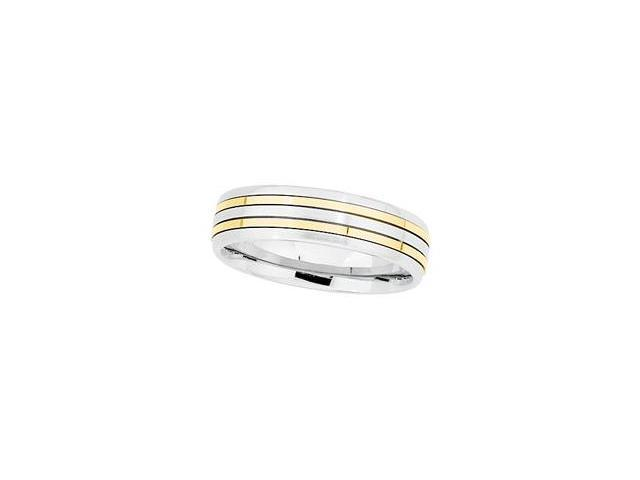 18K Yellow Gold And Stainless Steel Comfort Fit Band Size 12.5