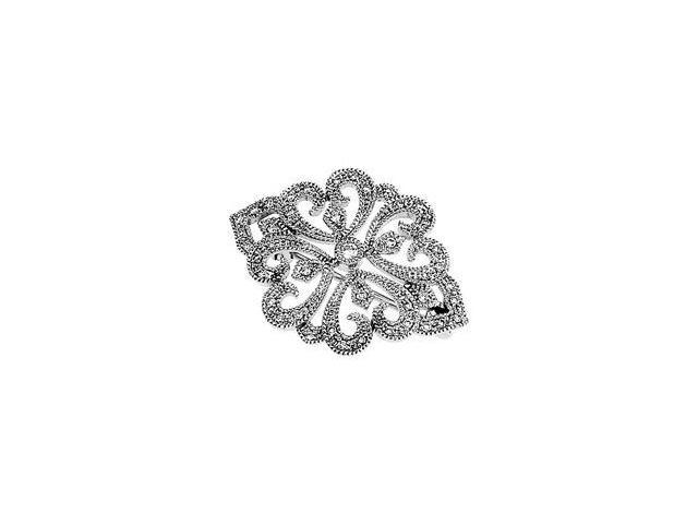 CleverSilver's 14K White Gold Diamond Brooch 1/ 4 Cttw