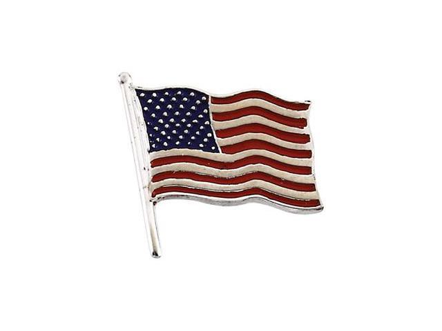 CleverSilver's 14K White Gold American Flag Lapel Pin7. 5 0X7. 0 0 Mm