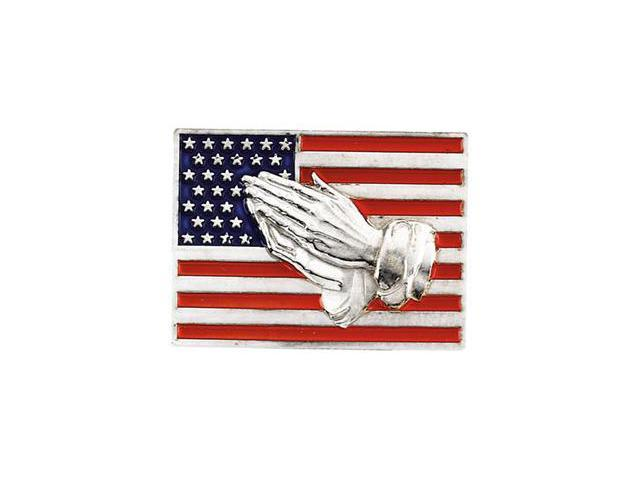 14K White Gold Red, White, And Blue Flag W/Praying Hands Lapel Pin