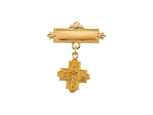CleverSilver's 14K Yellow Gold 4-Way Cross Baptismal Pin2. 0 0 Mm