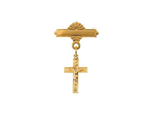 CleverSilver's 14K Yellow Gold Crucifix Baptismal Pin14. 0 0X 0 9. 0 0 Mm