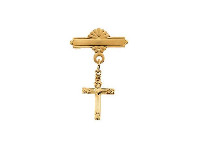 CleverSilver's 14K Yellow Gold Cross W/Heart Baptismal Pin3. 0 0X10. 0 0 Mm