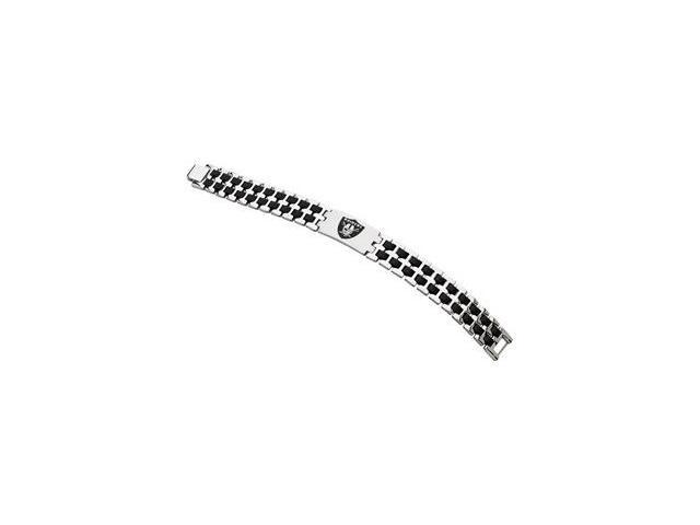 Stainless Steel Oakland Raiders Stainless And Rubber Team Logo Bracelet