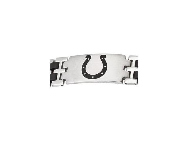 Stainless Steel Indianapolis Colts Stainless And Rubber Team Logo Bracelet