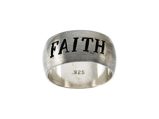Sterling Silver Antiqued Half Round Faith Ring Size 8