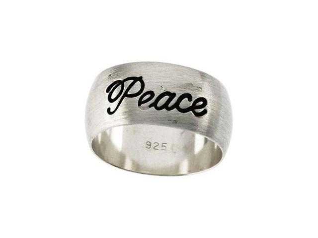 Sterling Silver Antiqued Half Round Peace Ring Size 8