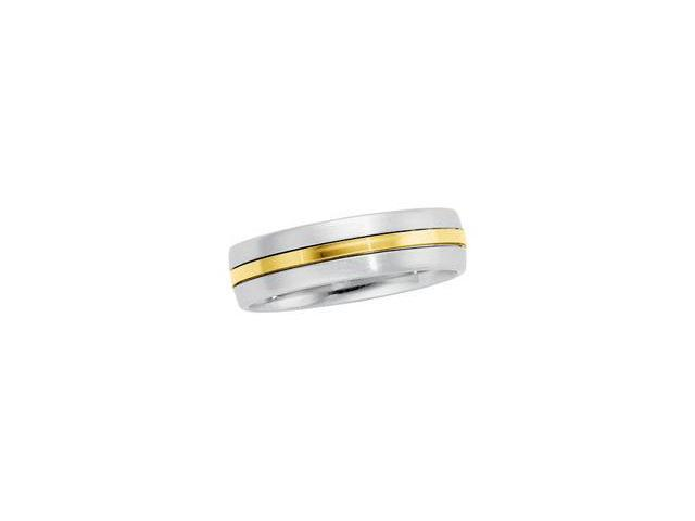 Stainless Steel & 18K Yellow Gold Comfort Fit Band Size 5.5