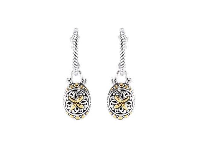 Hoop Earrings With A Oval Shaped Dangle Sterling Silver & 18K Yellow Pair