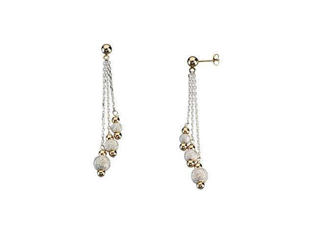 Dangle Earrings Sterling Silver & 14K Yellow Pair 49.25X06.00 mm