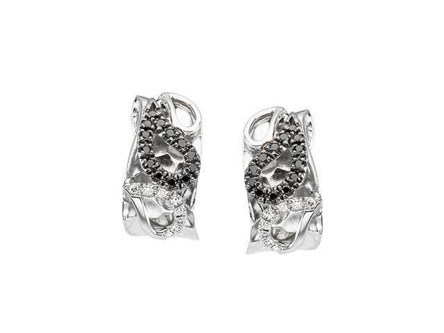 Black And White Diamond Earrings Sterling Silver & 14K White Pair 1/3 Ct Tw