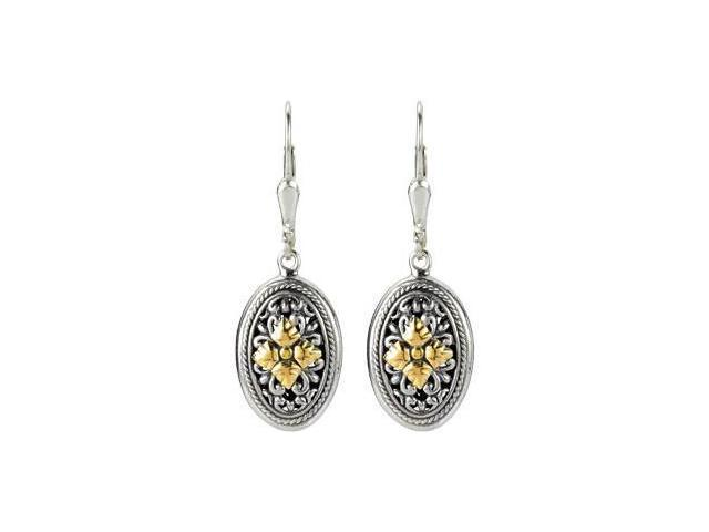 Sterling Silver And 18Ky Fashion Earrings Sterling Silver & 18K Yellow Pair